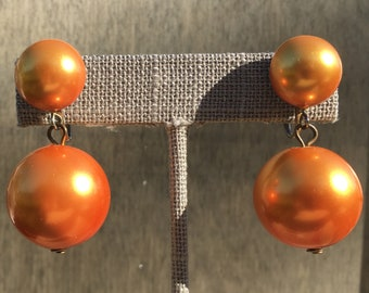 Vintage Orange Dwarf Star Dangle Clip-On Earrings