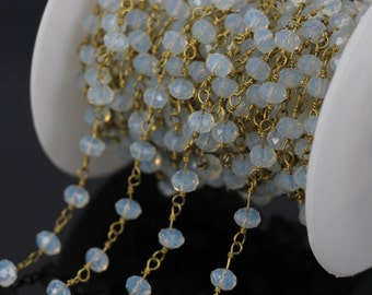 Wholesale!Wire Wrapped Beaded Chains Gold Plated Rosary Chain Opal Crystal Faceted Beads Jewelry Making