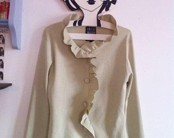 1990s Irie pistachio cardigan, lightweight soft knit with pretty ruffles / small - medium