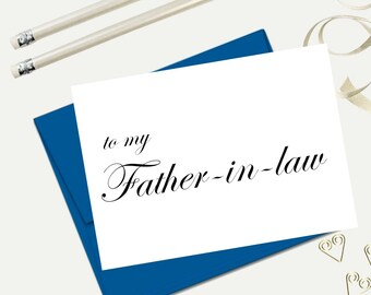 To my father in law, wedding day card, father of the groom, parents on wedding day, wedding greeting cards, in law cards