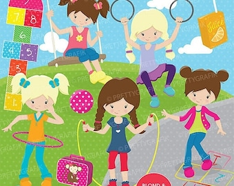 80% OFF SALE Recess kids clipart commercial use, vector graphics, digital clip art, digital images - CL665