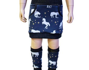 Girls Skirt, Sweat Skirt, Unicorn, Glitter, 2T - 3T