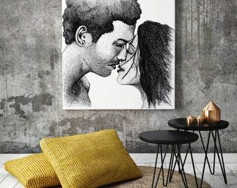 Minimalist art, Romantic Wall Art, Housewarming Gift, Black White Bedroom Wall Decor, Couple Painting, Square Wall Art print by JurgaDream