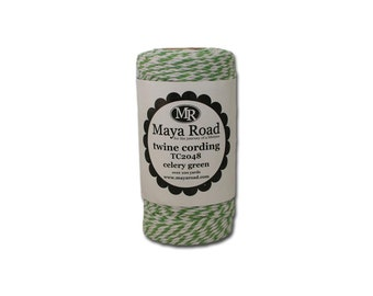 Celery Green and White Colored Bakers Twine 100 Yard Rolls (300 feet) from Maya Road for Packaging, Scrapbooks, Crafts