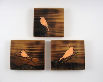 wood wall hangings upcycled wood coral birds burnt