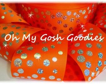 "HOLOGRAM DISCO DOTS Orange Grosgrain Tic Toc Cheer Ribbon - 3""  - 5 Yards - Oh My Gosh Goodies Ribbon"