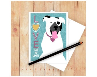 Love Card, Dog Stationery, Pit Bull Card, Cute Dog Card, Dog Birthday Card, Encouragement Card, Adoption Card, Rescue Card, Dog Art