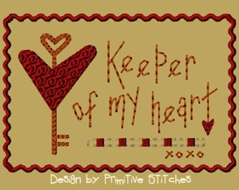 MACHINE EMBROIDERY-Keeper Of My Heart-4x4-Fill-Instant Download