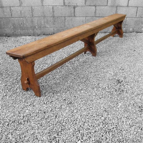 Oak Bench Seat Rustic Antique Kitchen Traditional Farmhouse 9ft Long