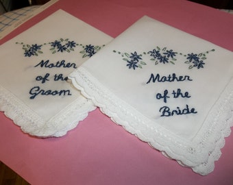 Mother of bride, mother room wedding handkerchief set of 2, hand embroidered, midnight blue, wedding gift, wedding colors welcome