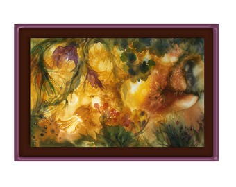 Golden landscape with fantastic birds, Perelandra, fanfiction, Space Trilogy of Lewis, Eden, print on canvas by silk painting, gold ochre