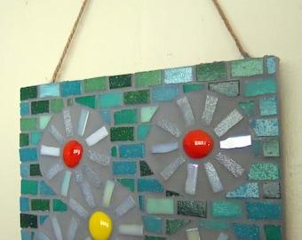 Mosaic Art, Mosaic Wall Art, Daises on Green, Mini Glass Mosaic, Mosaic Daises, mosaic flowers, Birthday gift for her