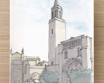 Ink and Watercolor Drawing of Forest Lawn Cemetery Great Mausoleum in Los Angeles - Architecture, Sketch, Art, Pen and Ink, 5x7, 8x10
