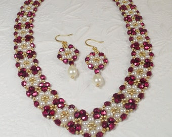 Woven Pearl Necklace and Earrings Set V Style Collar in Red Gifts for Her