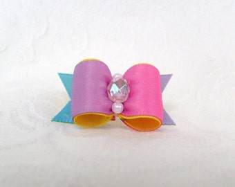 5/8 Rainbow Washed Pup Bow