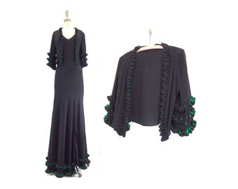 Vintage 30s Dress 30s Bias Cut Dress and Jacket 1930s Dress 1930s Gown 30s Jacket Black Crepe xs