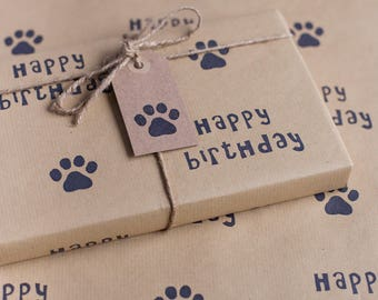 Happy Birthday Paw Print Wrapping Paper, Including 1 x Gift wrap, 2 x Gift Tags & Twine.