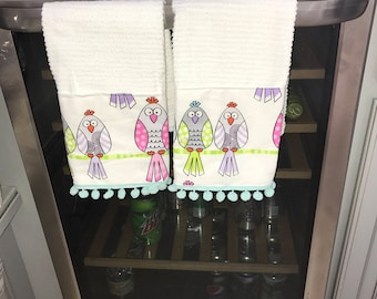 Whimsical Birds Pompom Kitchen Towel Set