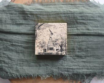 Madison Square Savannah Pen and Ink Drawing Art Print on 3x3 Wood Panel with option for Ornament