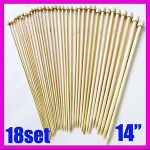 18 different size Bamboo knitting needles