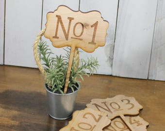 Table Numbers/Stakes/Wood/Wedding Sign/Event/Rustic/Summer/Fall Wedding/Rustic/Scallop/Set of 10 Stakes
