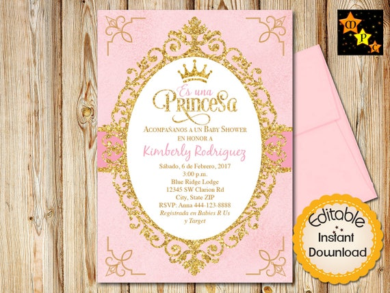 Spanish princess baby shower invitation girl pink spanish princess baby shower invitation girl pink watercolor and gold instant download editable in adobe reader diy printable 5x7 filmwisefo Images