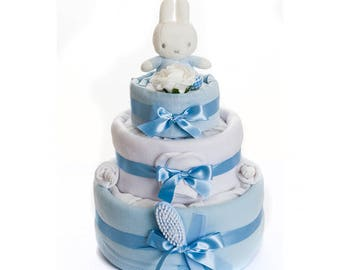 Miffy Nappy Cake Baby Boy - Miffy Baby Gifts - Baby Boy Nappy Cake - Baby Shower Gift Ideas - Free UK Delivery
