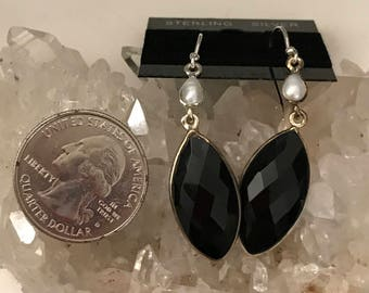 Faceted Black Onyx and Pearl Earrings