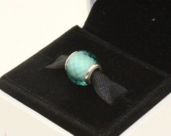 Green PETITE FACETED MURANO / New / Threaded Charm / s925 Sterling Silver / Fully Stamped