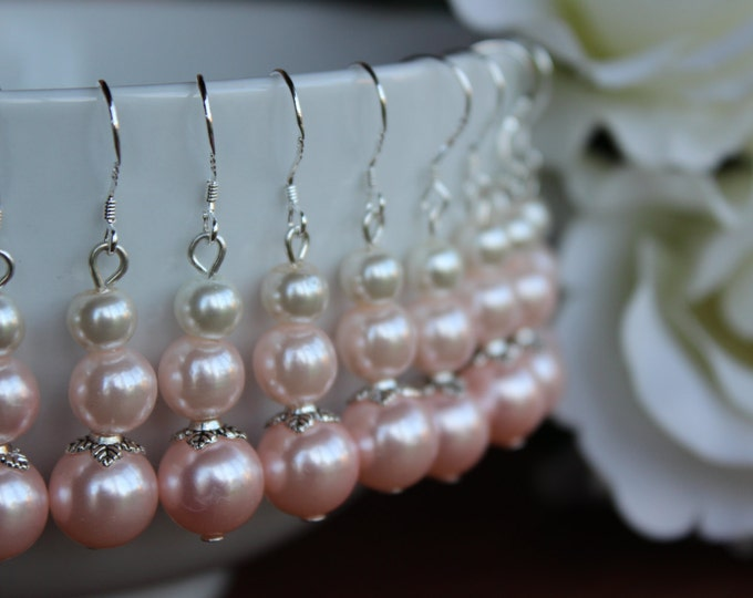 Wedding Pink Pearl Bridesmaids Earrings.