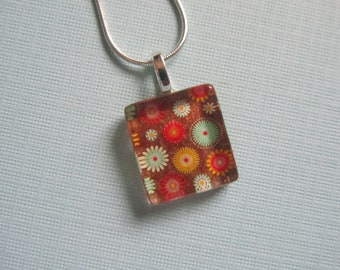 Brown With Flowers Print Glass Pendant with Silver Chain Necklace