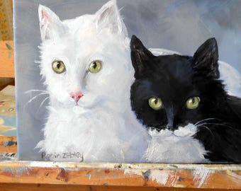 Pet Portrait Oil Painting, Cat Art Paintings by artist Robin Zebley