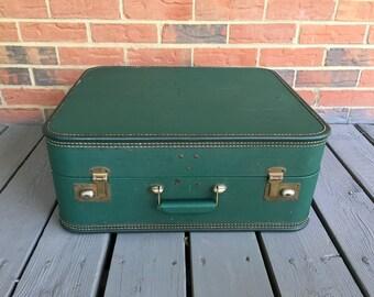 Vintage Mid Century Green Lady Baltimore Luggage Retro Travel