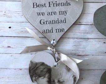 Personalised Grandad/Daddy etc Photo Heart Gift P194