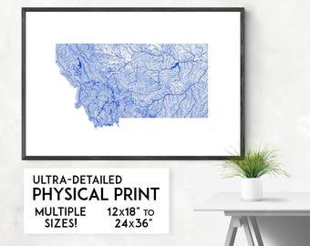 Waterways of Montana print | Physical Montana map print, Montana poster, Montana wall art, Montana map art, Montana art