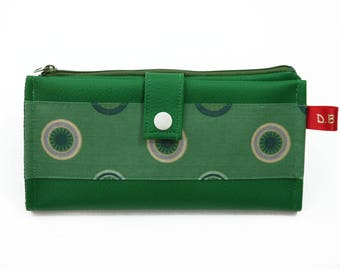 Green faux leather wallet