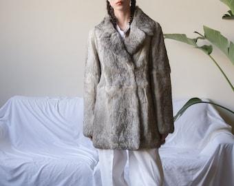 silver gray chubby rabbit fur jacket / cropped genuine fur jacket / short rabbit fur coat / s / m / 2469o / R5