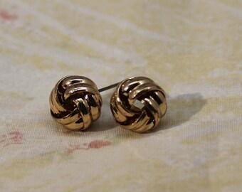 Medium Golden Knot Post Earrings - Pierced