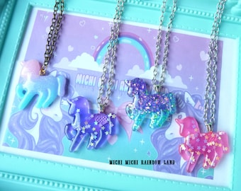 Unicorn Iridescent Stars Resin Necklace