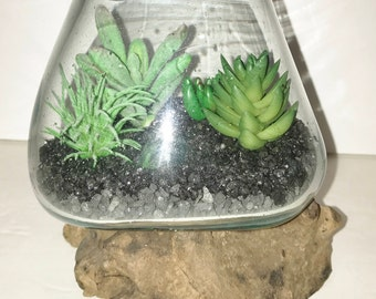 Artificial Succulent Modern Arrangement, Desk Accessory, Succulent Terrarium, Faux Succulent Arrangement, Molten Glass, Succulent Gift
