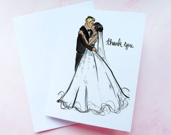 Custom Bride and Groom Wedding Thank You Cards / Bridal Shower Thank You Cards / Personalized Wedding Stationary / Set of 10 Notecards