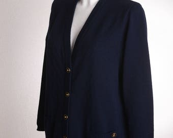 "Vintage 80s ASPA ""Lady-Strick"" Cardigan dark blue"
