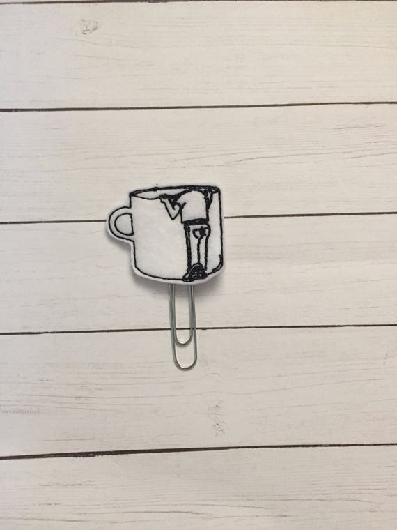 Not Enough Coffee Clip/Planner Clip/Bookmark. Man in coffee cup planner clip. Tired Planner Clip. Coffee Planner Clip