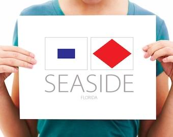 Seaside - Florida - Nautical Flag Art Print