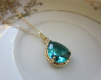 Sea Green Necklace Gold Teardrop - 14k Gold Filled Chain - Bridesmaid Necklace - Bridesmaid Jewelry - Bridal Wedding