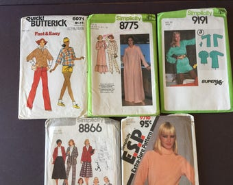 Vintage sewing pattern, lot 5, simplicity , Butterick , size 16, 18, 20, 20 1/2 , 40, 42, 44, 46, fashion, retro, skirt, top, jacket, pjs