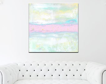 Abstract Painting Print Pink White, Large Canvas Wall Art Pastel Pink, Nursery Wall Art, Nursery Canvas Art, Nursery Decor
