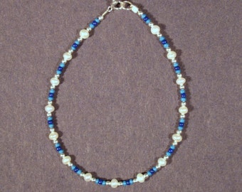 Sterling Silver Freshwater Pearl and Seed Bead Blues Bracelet