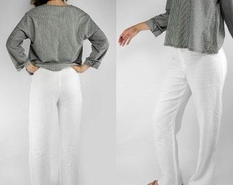 Jaeger white linen pants / flowy full leg linen pants / wide leg / medium size 8