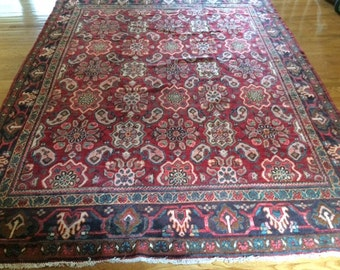 Persian rug Sarouk antique 7.7 x 10.2 wshed clean hand knotted wool low even pile